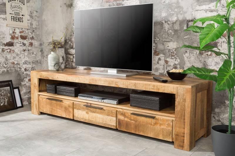 meuble tv design industriel 170 cm en bois massif