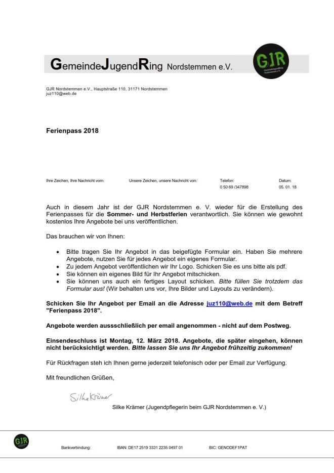 JUZ Jugendzentrum Ferienpass 2018 - 01