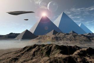 spaceships over pyramid