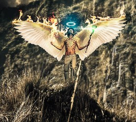 close up and detail of angel photo manipulation