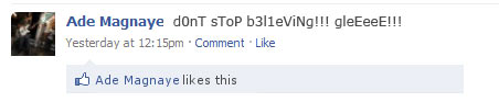 Liking your own Facebook status