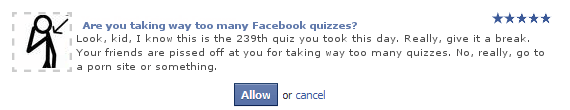 Facebook funny quiz