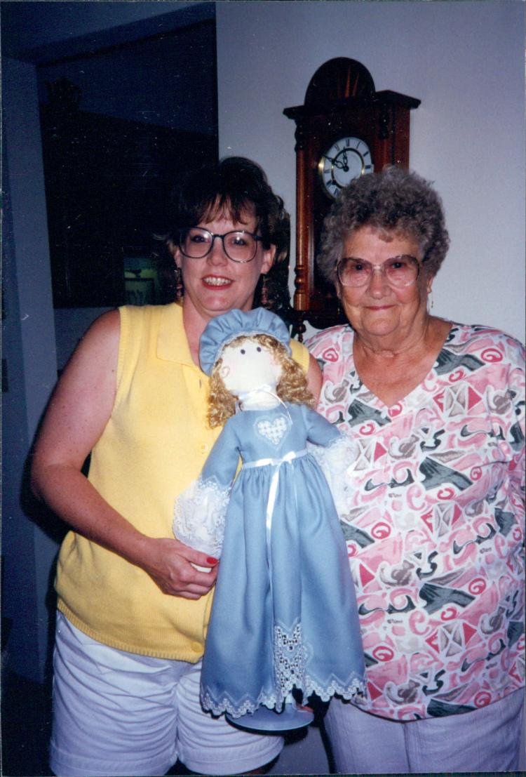 Sue and Grandma with hardanger doll copy