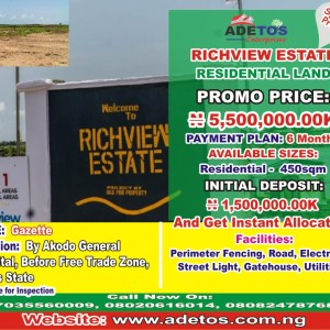 RESIDENTIAL LAND AT RICHVIEW ESTATE