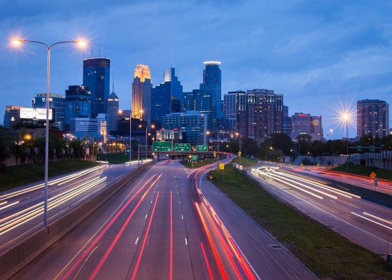 Minneapolis urban night traffic cityscape