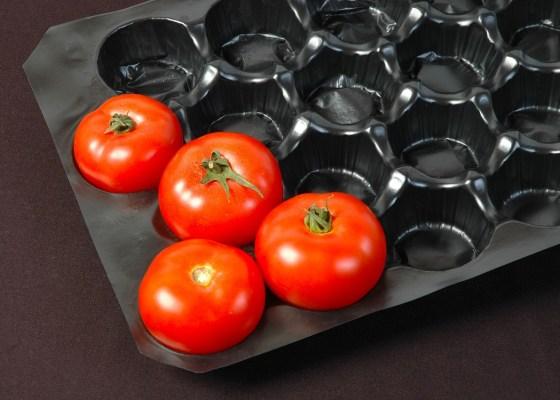 black plastic packaging tomatoes