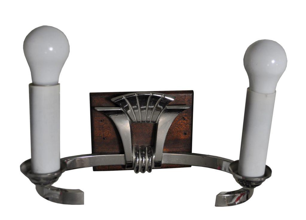 5200 Mb2 Br S Ca Nickel Plate And Wood Art Deco ADG Lighting