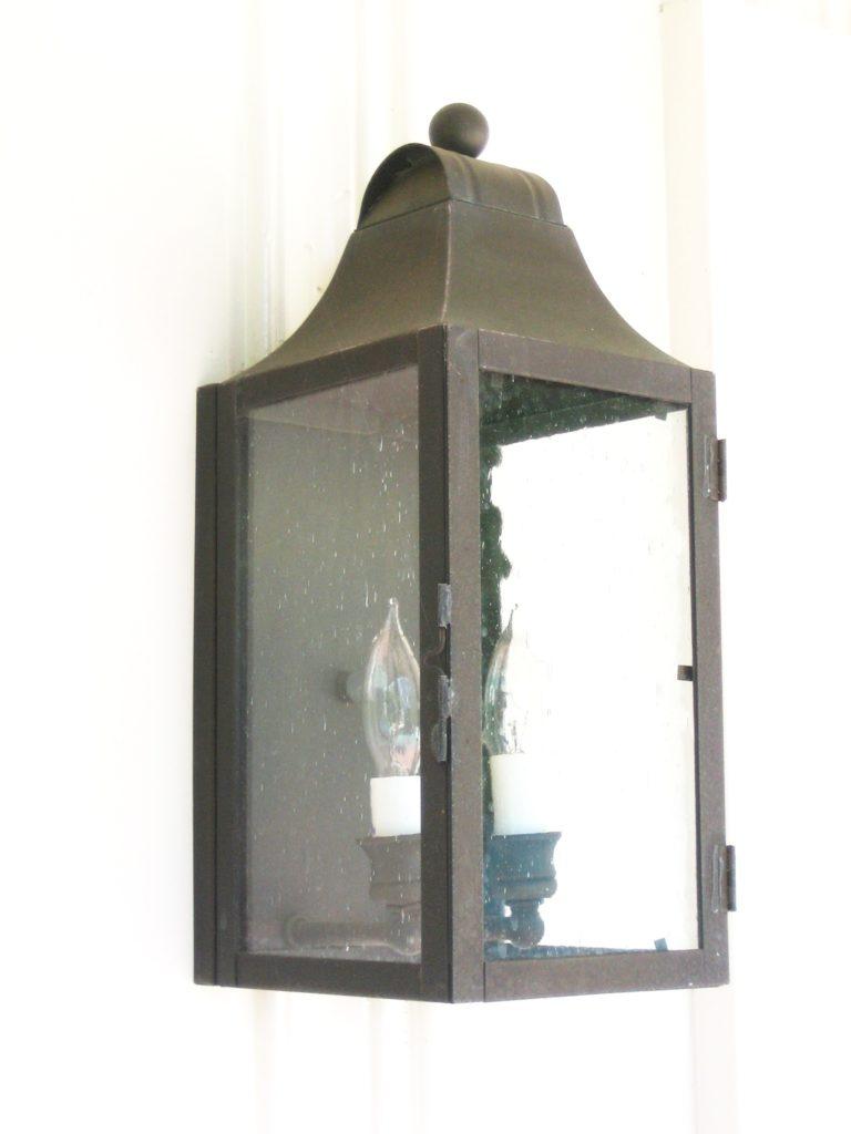 524 Cb2 Br W Sh Brass Lantern Clear Glass ADG Lighting Wallace Neff Styled