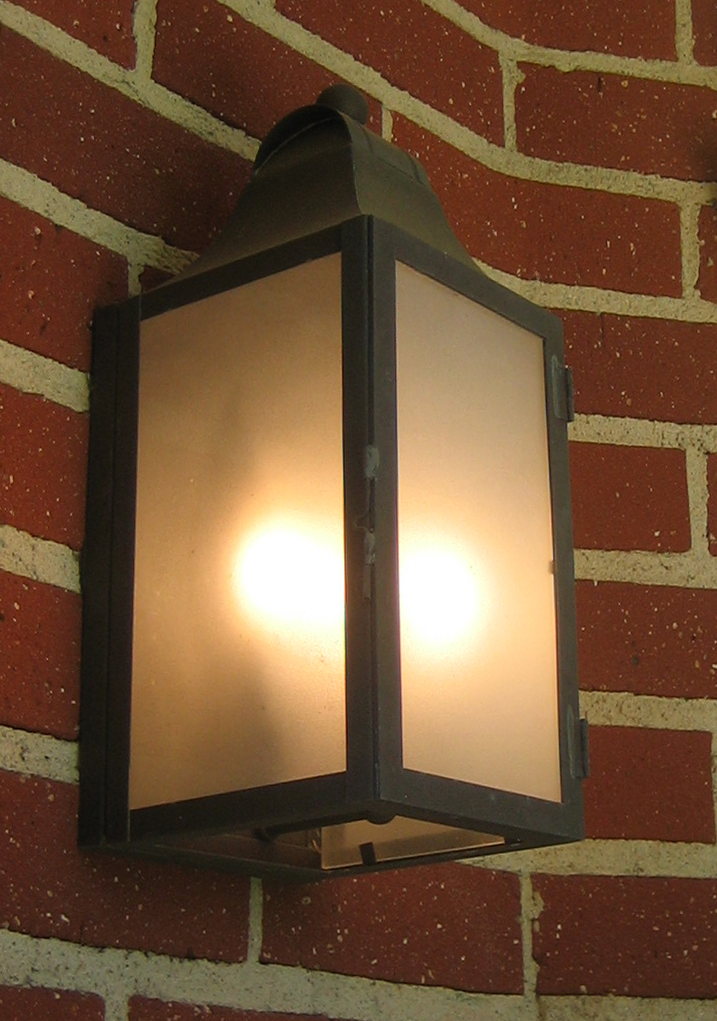 524 Cb2 Br W Sh Brass Lantern Sandblasted Glass ADG Lighting Wallace Neff Styled