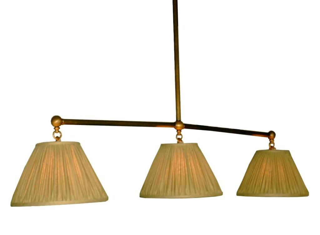 7398 Mb3 Br H Ba Pool Table Light With Silk Shade Wallace Neff Styled ADG Lighting CRa
