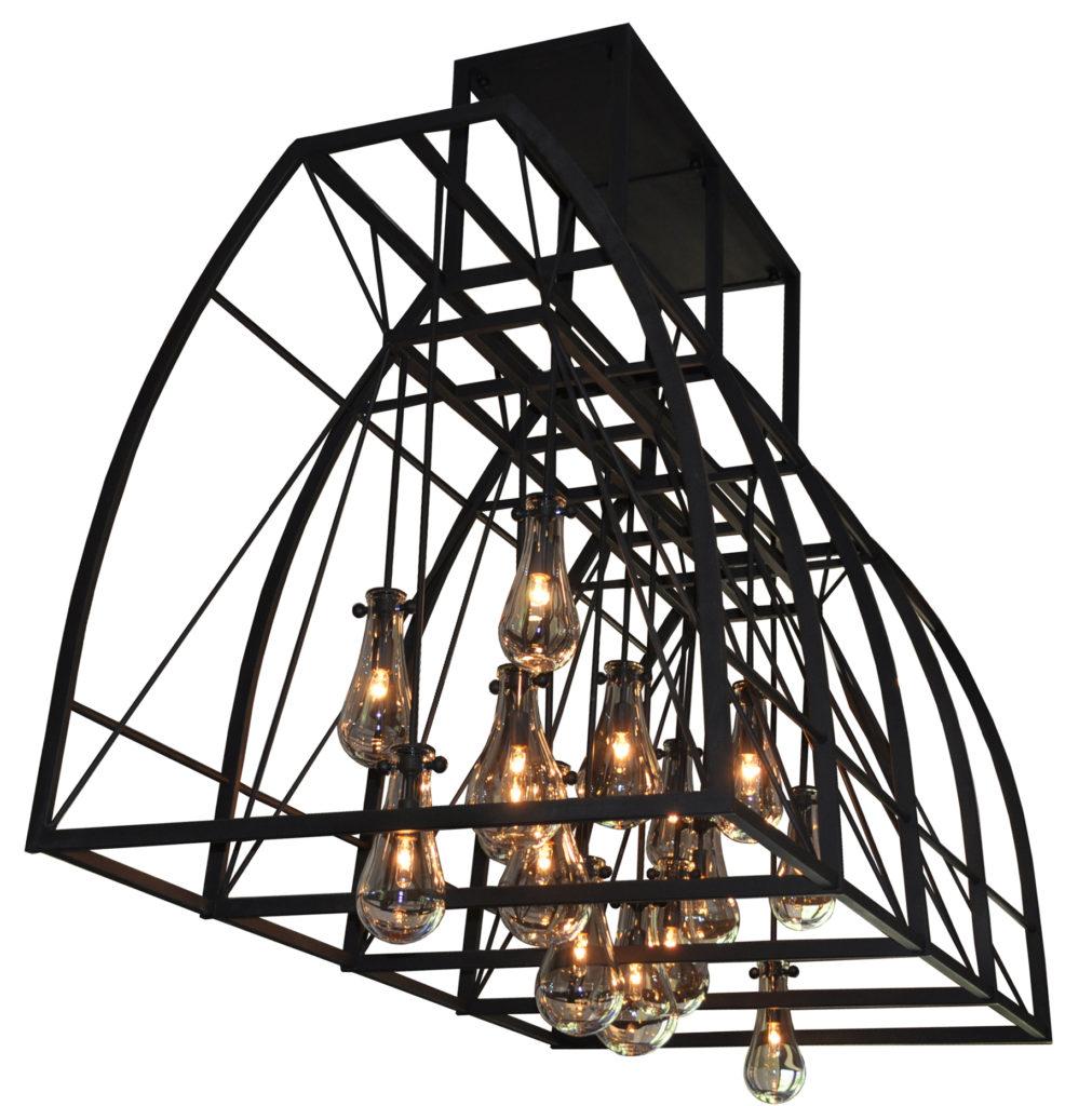 7288 Cb15 Ir H Ba Pyrex Glass And Irn Light Skinned Hood Modern Chandelier A1 CR  – ADG Lighting
