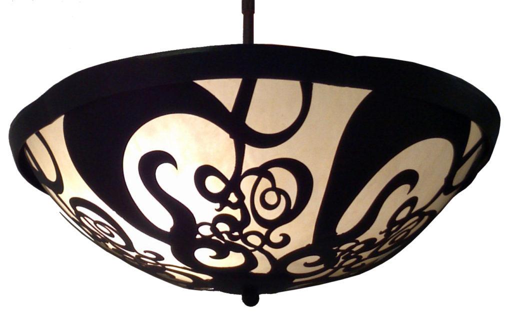 7262 LED Br H Sh Filigree Bowl Hanging Pendant Water Jet Cut Light Fixture ADG Lighting