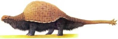 Taranter - Ankilosaurus mirip Bison. Gambar oleh Dougal Dixon.