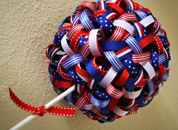Patriotic Ribbon Topiary