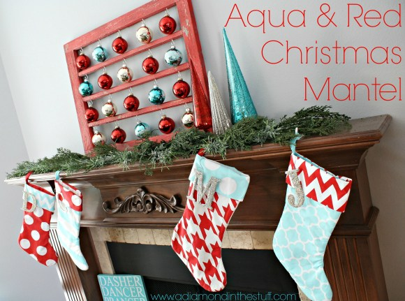 Aqua and Red Christmas Mantel