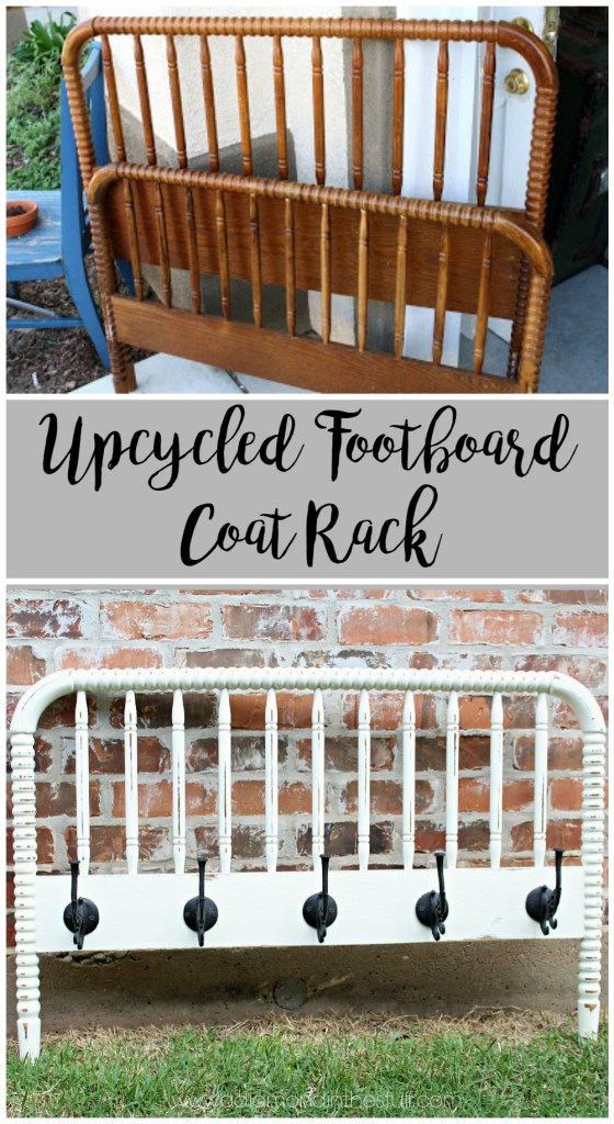Upcycled Footboard Coat Rack | A Diamond in the Stuff