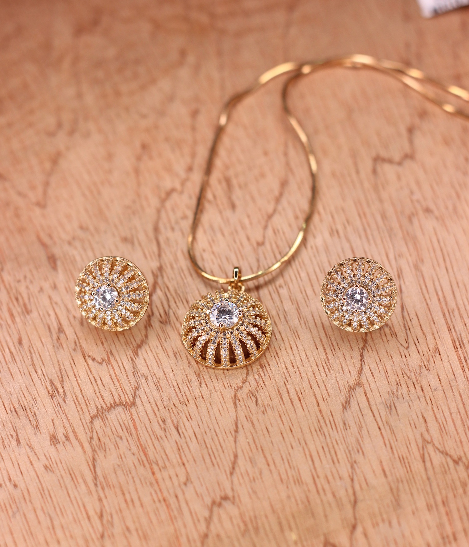 Rose Gold Color Zircon Stone Necklace