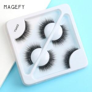 Magefy 3 Pair 3D Natural Mink Eyelashes