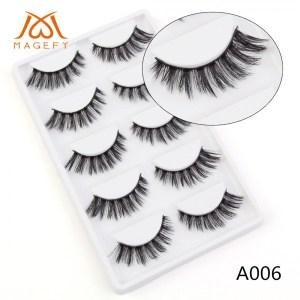 Magefy 5 Pair 3D Natural Mink Eyelashes