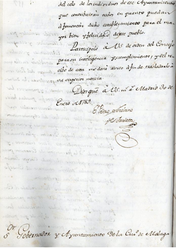 Carta de Don Pedro Escolano de Arrieta, escribano de Cámara y de Gobierno del Consejo Real de Castilla