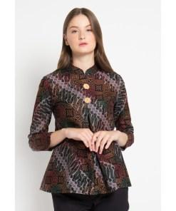 - Blouse detail motif batik print - Kombinasi warna kuning - Kerah Mandarin - Unlined - Regular fit - Resleting belakang - Material katun