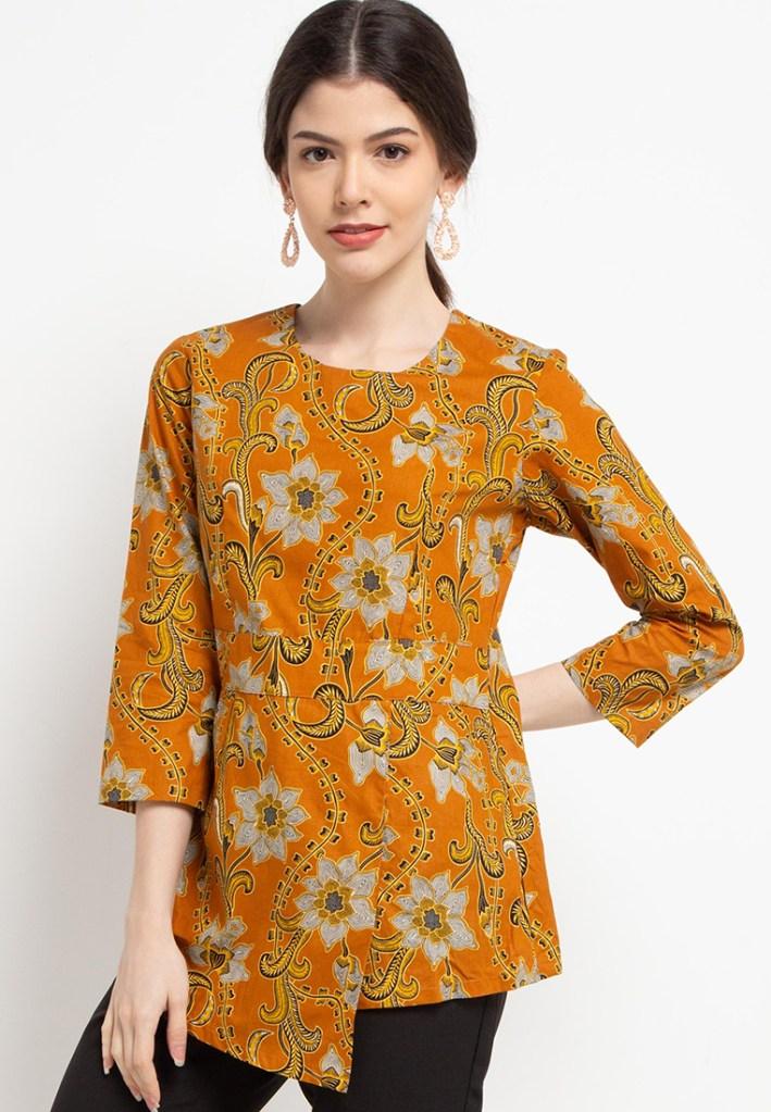 Batik Adikusuma Women Bunga Lily Blouse Batik Wanita – Orange