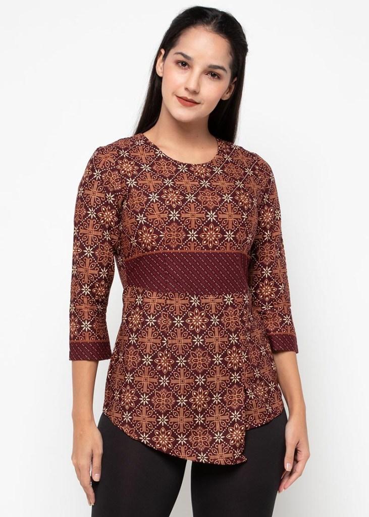 Batik Adikusuma Women Nitik Kembang Blouse Batik Wanita – Cokelat