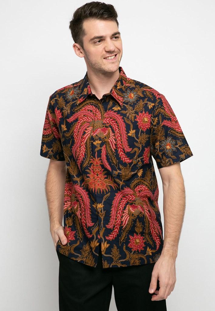 Batik Adikusuma Daun Jalar Kemeja Batik Pria – Biru
