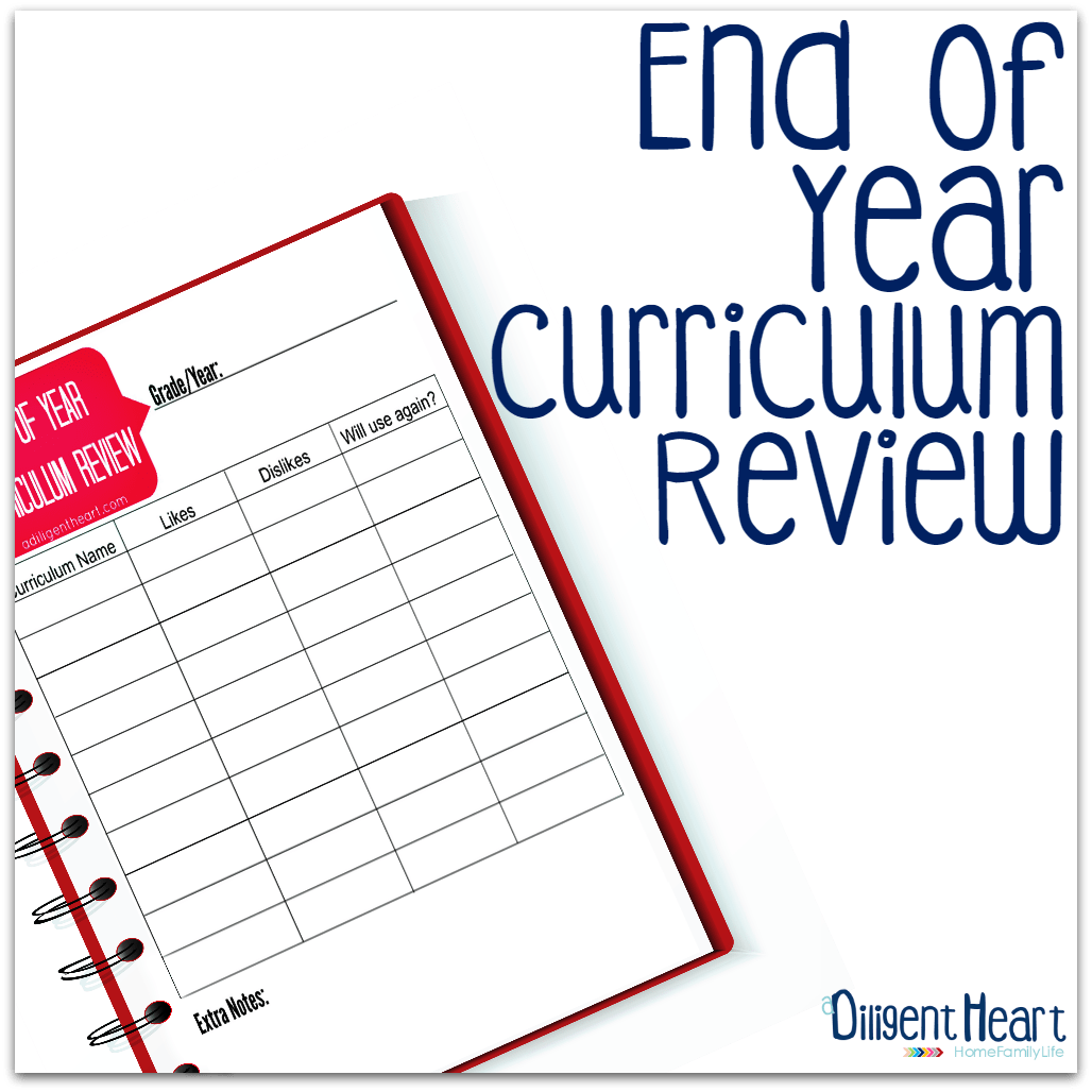 End Of Year Curriculum Review Free Printable