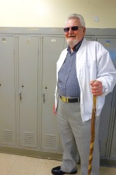"Poppy trying to make a guess where his old locker maybe, sort of was. Hahaha ""Did you even go to Central High School?!"""