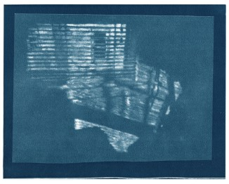 "Neighbors, cyanotype contact print of graphite drawing on vellum, 8"" x 10"", 2015"