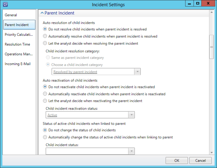 SCSM Incident Settings