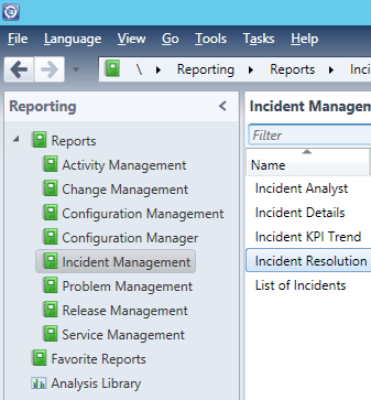 SCSM Reports - Incident Management