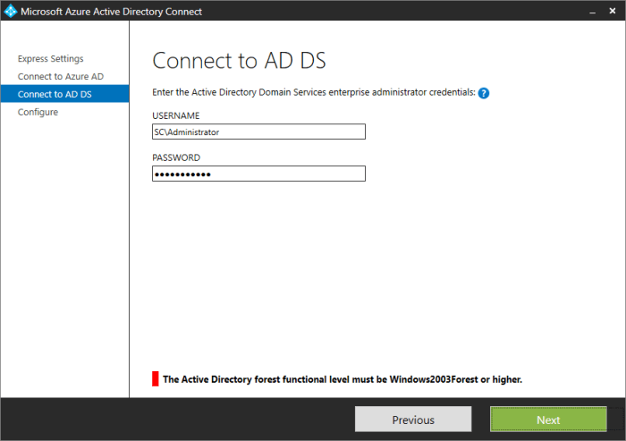 AzureADConn - Connect to ADDS