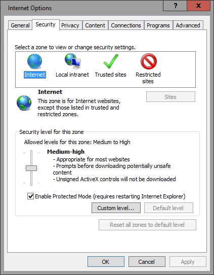 SCOM2016TP2 - IE Security Settings