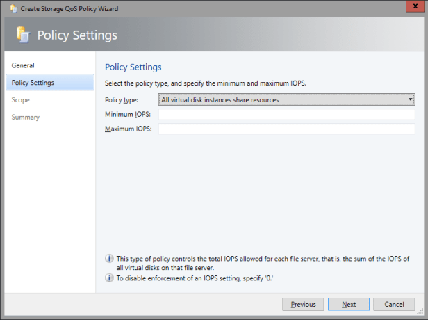 SCVMM 2016 TP2 - Fabric - Storage - QOS Policies - Policy Settings