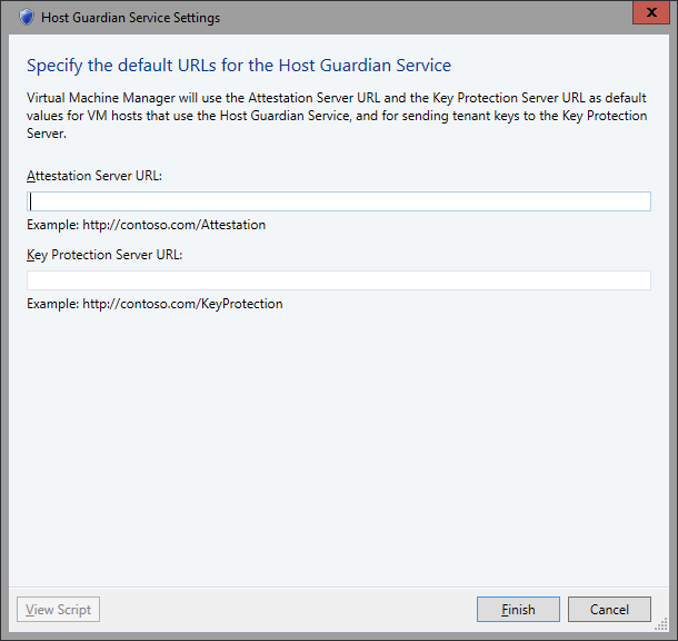SCVMM 2016 TP2 - Settings - General - Host Guardian Service Settings