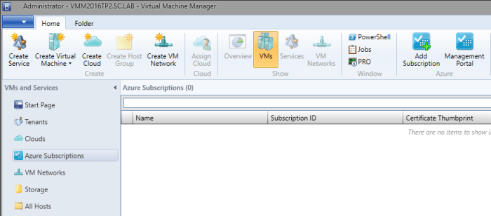 SCVMM2016TP2 - VMs and Services - Azure Subscriptions