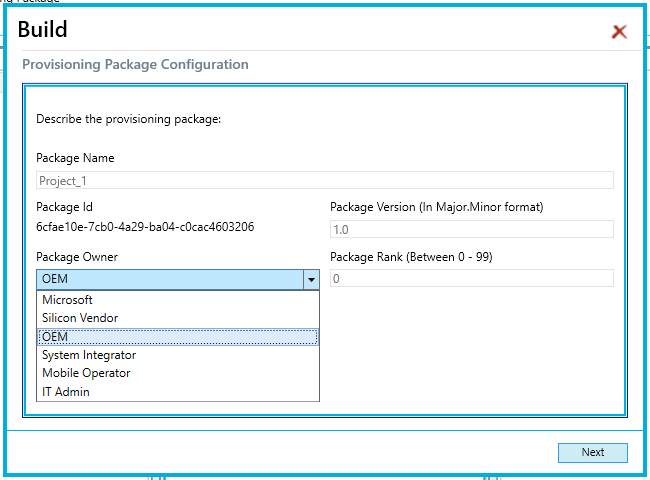 WICD - Export - Provisiong Package Configuration