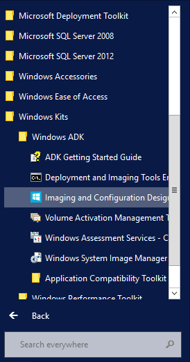 WICD-Start-Menue Windows ADK For Windows 10 - NEW Windows Imaging Configuration and Designer