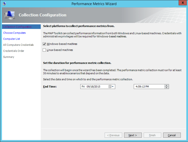 MAP Toolkit - How To Performance - Performance Metrics Wizard - Collection Configuration
