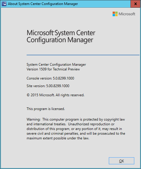 SCCM 2016 TP3 U1509 - About Config Manager