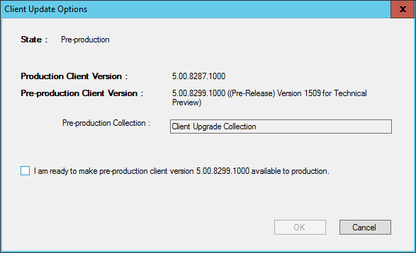 SCCM 2016 TP3 U1509 - Client Update Options