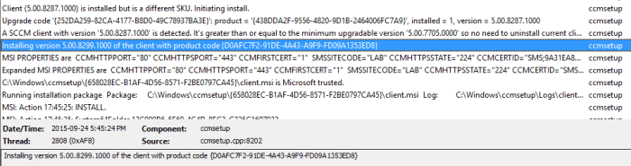SCCM 2016 TP3 U1509 - Client Upgrade Log
