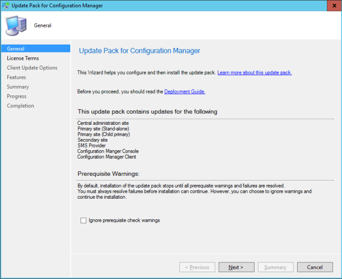SCCM 2016 TP3 U1509 - Update Pack Wizard - General
