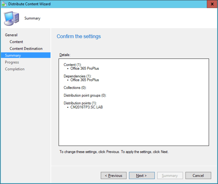 SCCM - Distribute Content Wizard - Summary