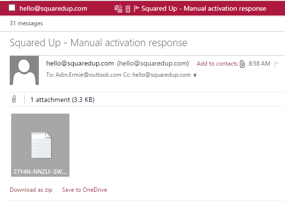 Squared Up - Manual Activation Email