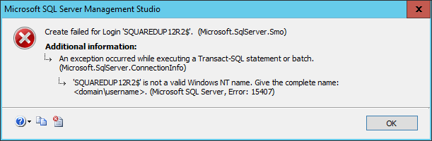 Squared Up - New SQL Login - Error