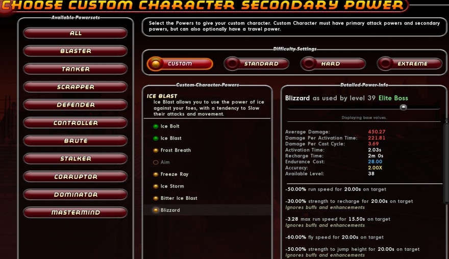 Custom enemy powerset customisation
