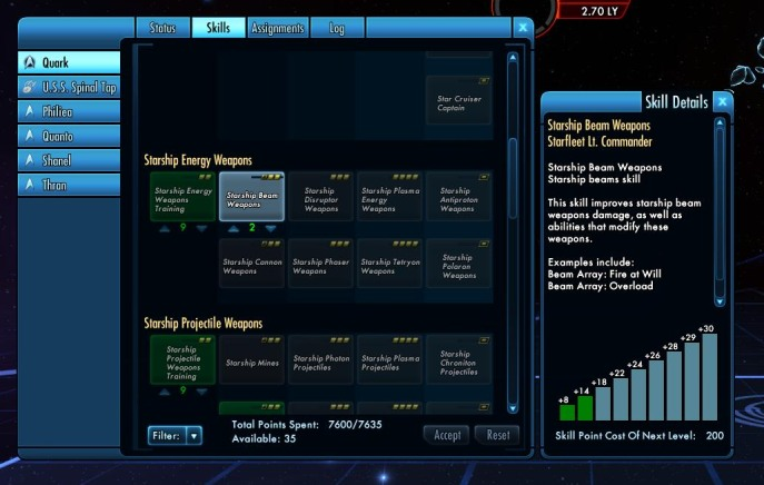 Part of skill tree for Wolf 'Quark' Sente, commanding U.S.S. Spinal Tap